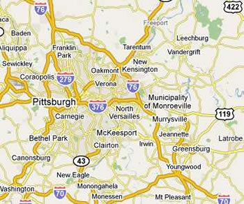 dumpster service map, Pittsburgh, Pennsylvania